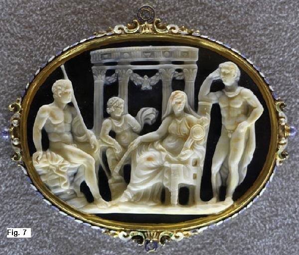 Ulisse e          Diomede si impadroniscono del Palladio. Pendente in calcedonio.          1500-1550 ca, MAF Museo Archeologico Nazionale di Firenze.