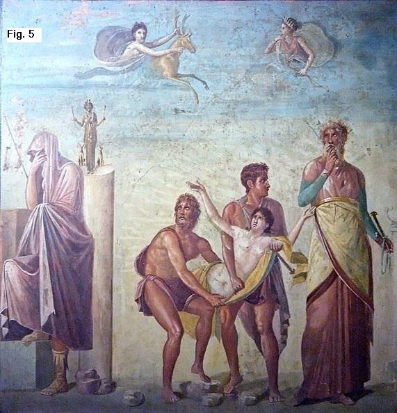 Diomede e Ulisse conducono Ifigenia per sacrificarla ad          Afrodite. Affresco I secolo d.C., MANN Museo Archeologico          Nazionale di Napoli
