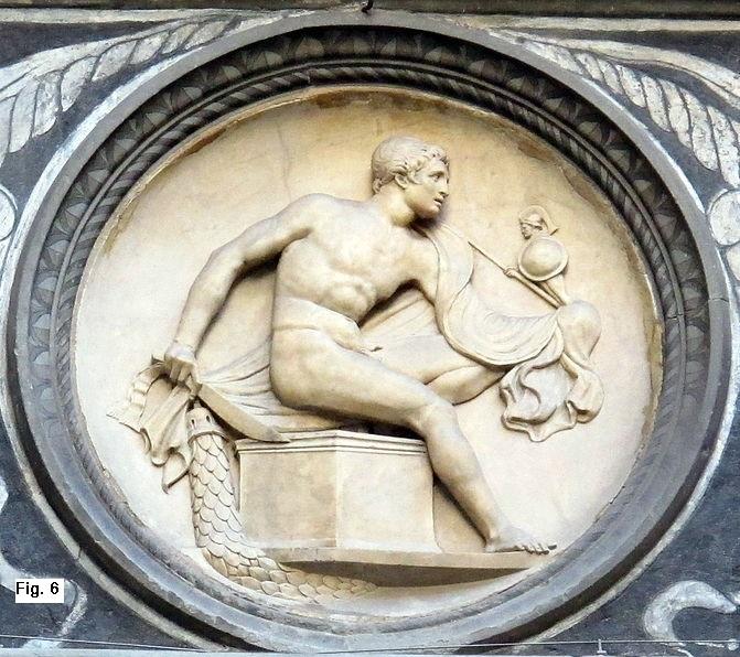 Diomede e il Palladio. Attribuito a Bertoldo di Giovanni,          Medaglione con bassorilievo.1444-1452, Cortile di Palazzo Medici          Riccardi, Firenze